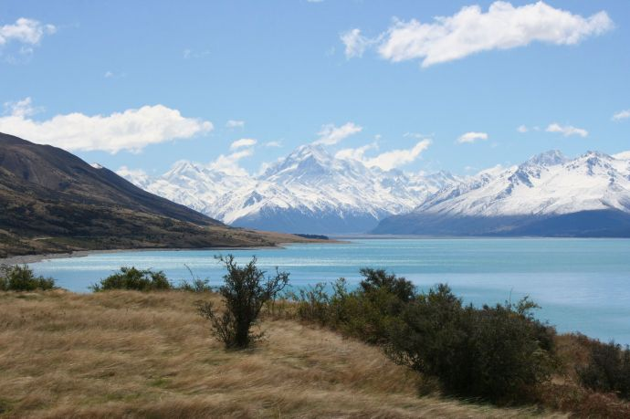 Lake Pukaki framed by the snow-covered Mount Cook