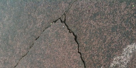 Cracks in a driveway following Auckland's earthquake - photo from NZ Herald