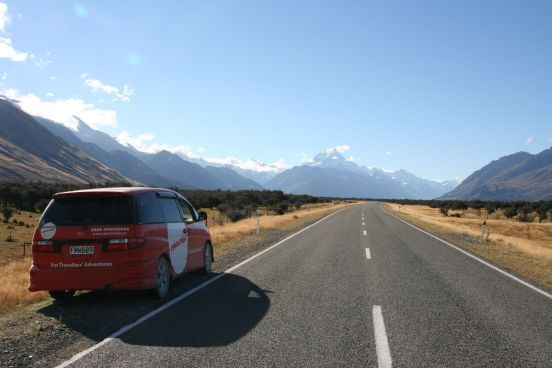 Ron (our spaceship) heading up to Mount Cook