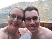 Enjoying the hot pool