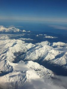 Snowcapped mountains from the air