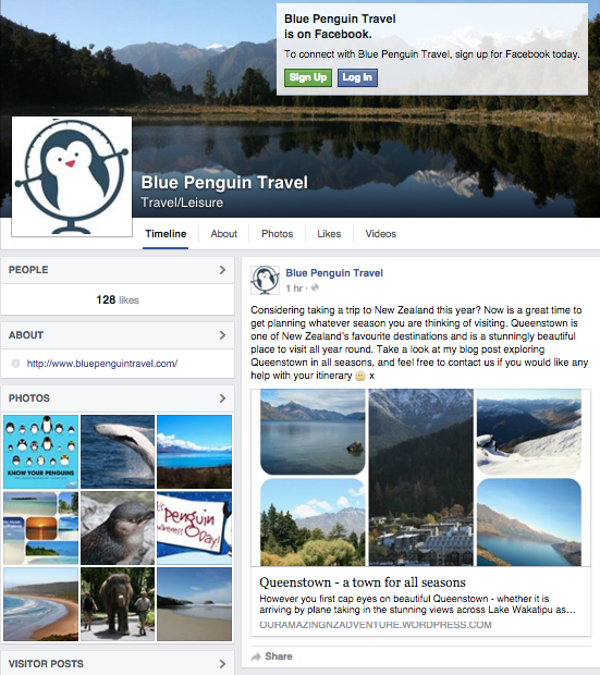 Blue Penguin Travel FB screenshot